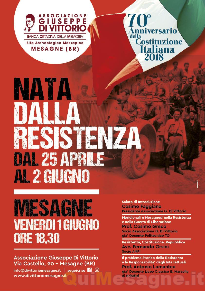 Nata dalla Resistenza, dal 25 aprile al 2 giugno 2018: 70^ anniversario della Costituzione della Repubblica Italiana