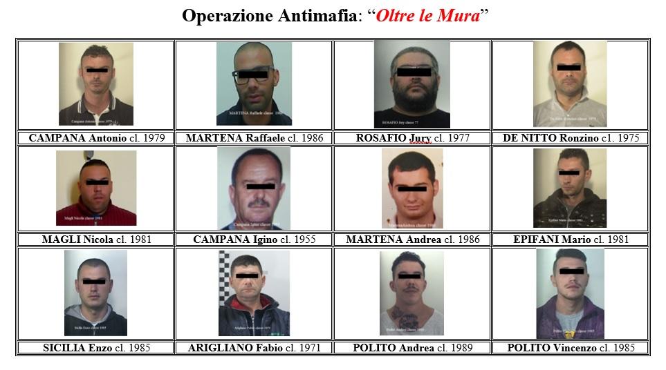"""Operazione """"Oltre le Mura"""", arrestati 12 presunti appartenenti alla Sacra Corona Unita"""