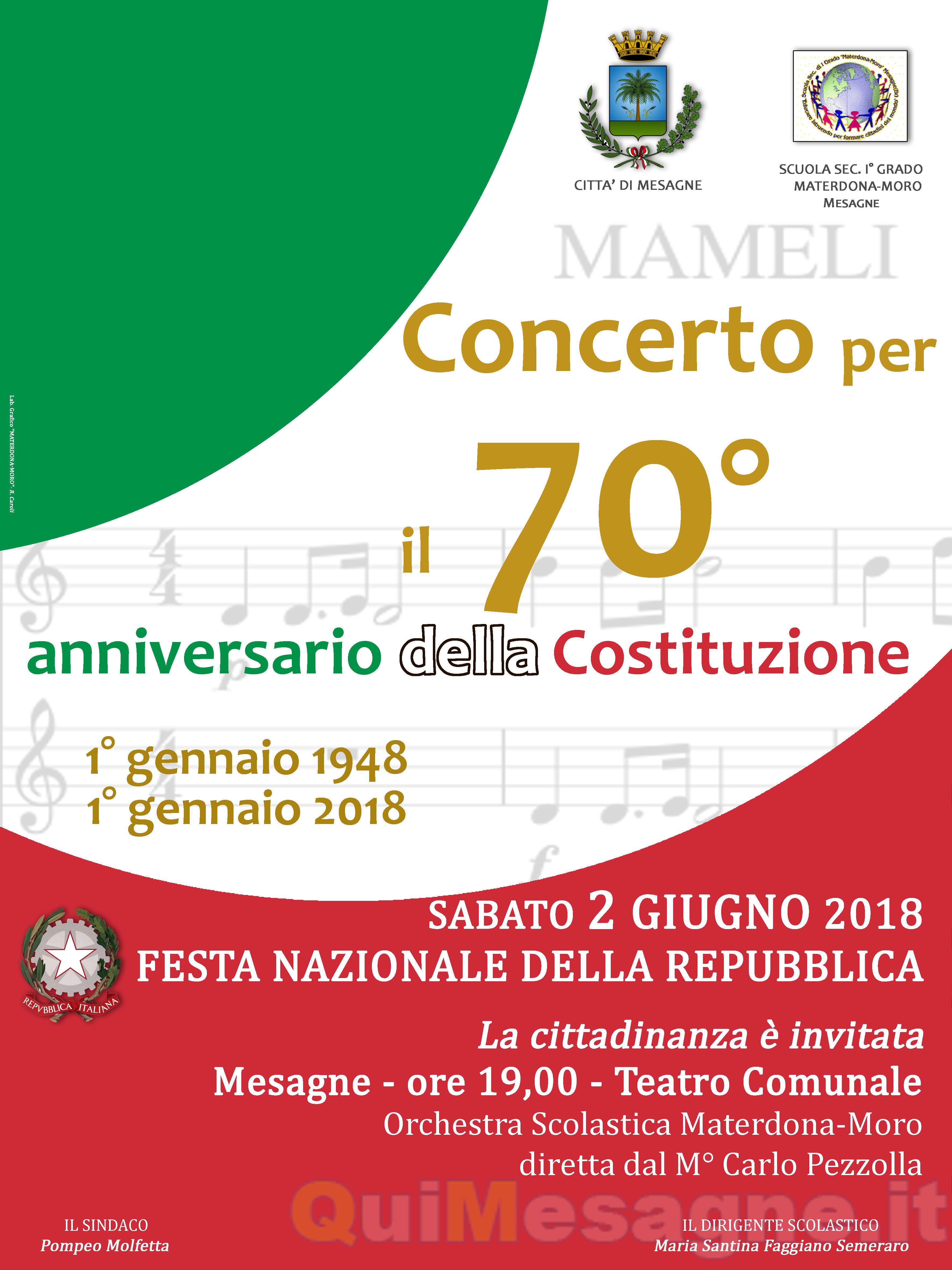"""Sabato 2 giugno è festa con il """"Concerto della Costituzione"""""""