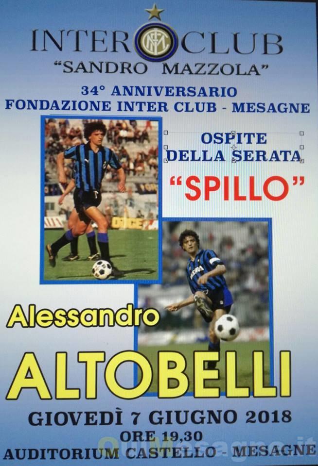 """Giovedì 7 giugno Alessandro """"Spillo"""" Altobelli a Mesagne"""