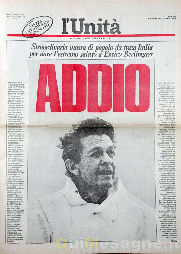 Ricordando Enrico Berlinguer a 34 anni da quell'11 giugno 1984 – di Cosimo Zullo
