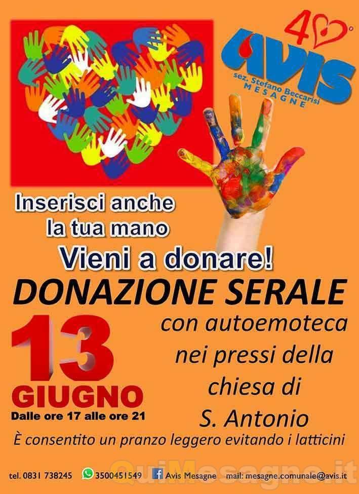 Mercoledì 13 donazione serale del sangue con Avis e parrocchia S. Antonio di Padova