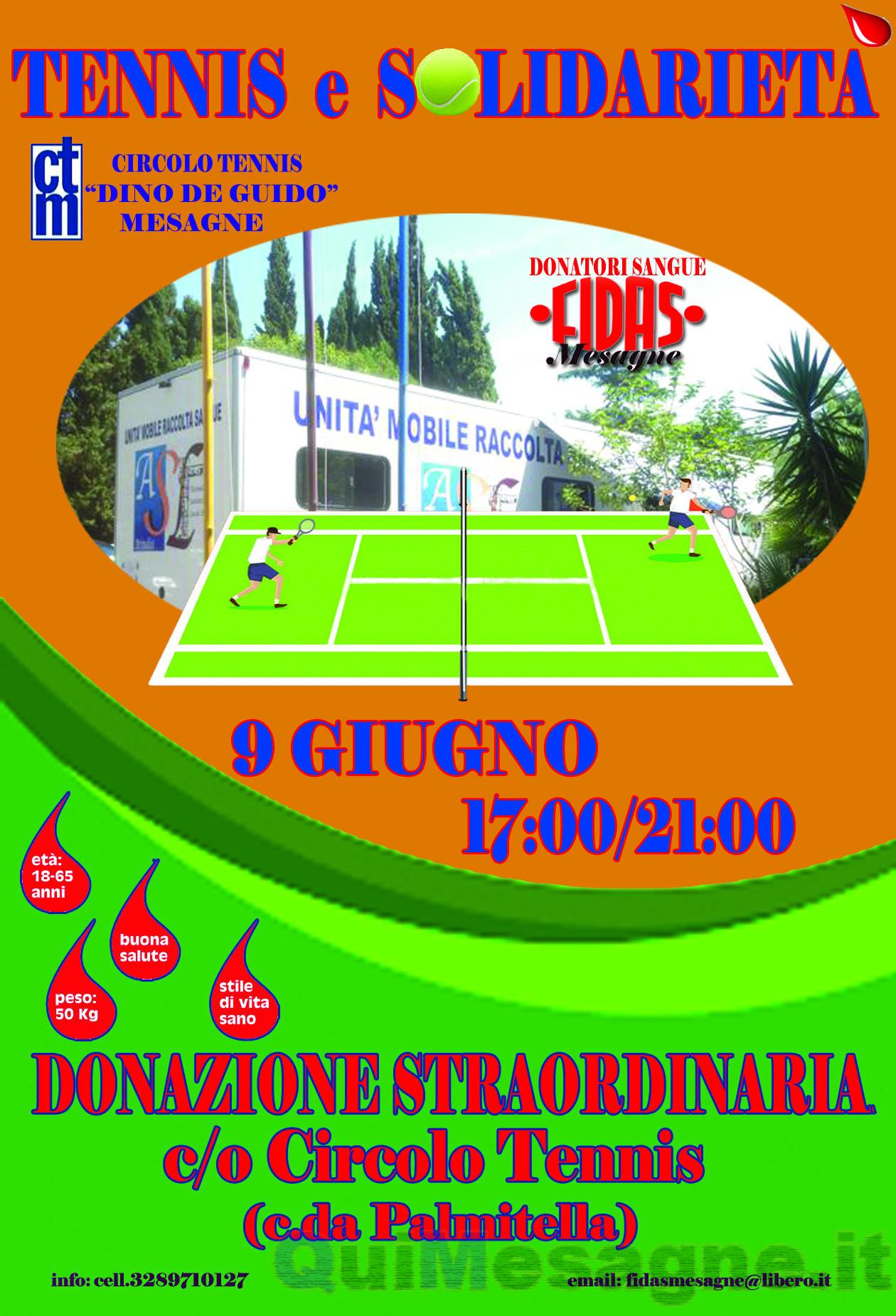 Tennis e solidarietà a sostegno della FIDAS per la donazione di sangue
