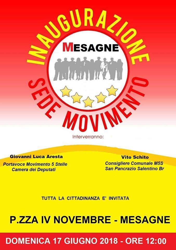 Domenica 17 giugno inaugurazione nuova sede Associazione Mesagne 5 Stelle