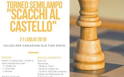 """Venerdì 21 Luglio Torneo Semilampo """"Scacchi al Castello"""""""