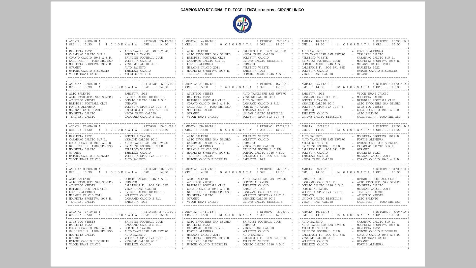 Calendario Sportivo.Ecco Il Calendario Dell Eccellenza Per Il Mesagne Calcio
