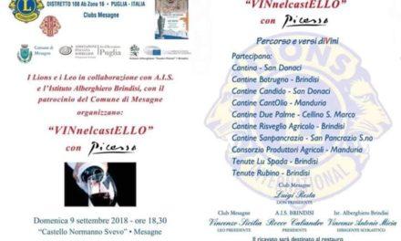Stasera 9 settembre c'è VINnelcastELLO con Picasso