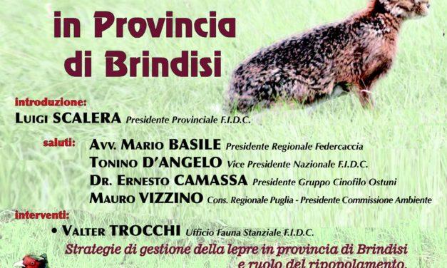 """Venerdì 19 ottobre convegno su: """"Gestione della fauna stanziale in provincia di Brindisi"""""""