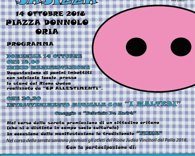 Domenica 14 ottobre torna a Oria La Sagra ti la sasizza
