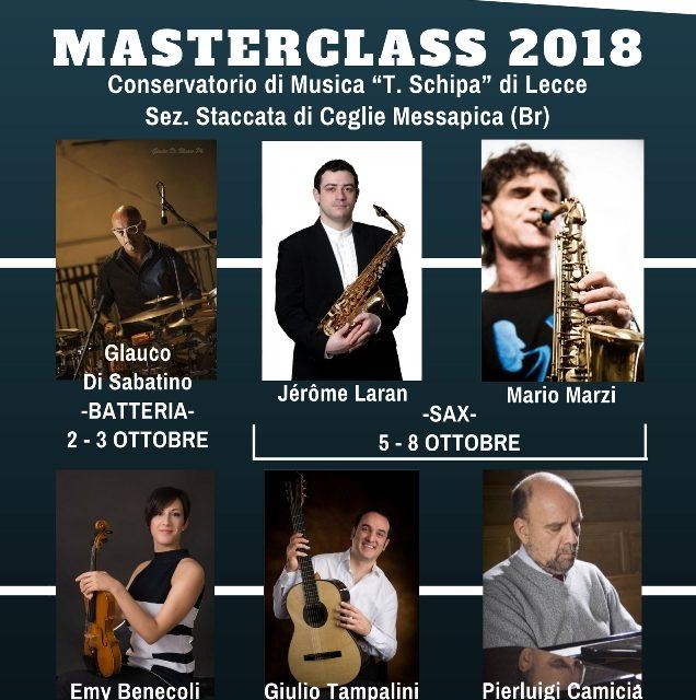"""NELLA SEDE DI CEGLIE MESSAPICA DEL CONSERVATORIO """"T. SCHIPA"""" IL MASTER CLASS 2018"""