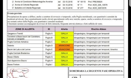 +++ ALLERTA METEO – 05 / 06 OTTOBRE 2018 +++