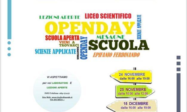 Il 24 Novembre al via gli Open Day all'Epifanio Ferdinando