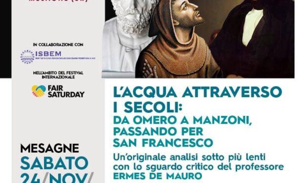 """Fair Saturday, stasera alla Di Vittorio """"L'Acqua attraverso i secoli"""""""