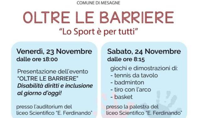 """Sabato 24 novembre evento """"Oltre le barriere – lo sport è per tutti"""""""