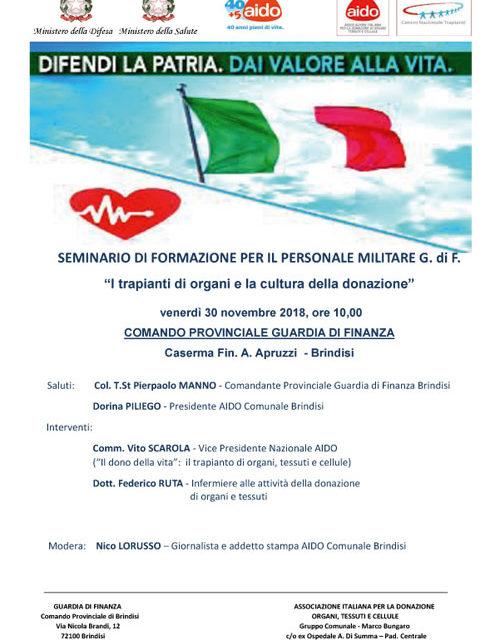 Guardia di Finanza e AIDO Brindisi per la sensibilizzazione donazione organi al personale delle Fiamme Gialle