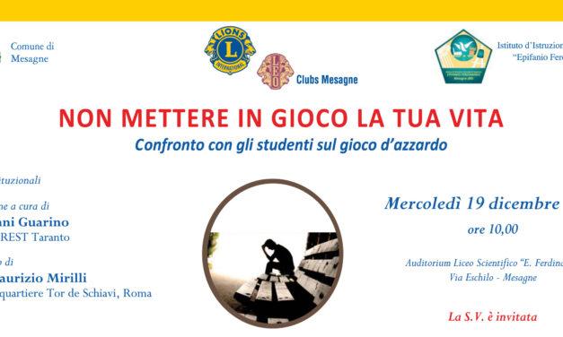 LOTTA AL GIOCO D'AZZARDO, MERCOLEDI 19 DICEMBRE  INIZIATIVA CON (E PER) GLI STUDENTI