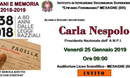 Giovani e Memoria, Venerdì 25 gennaio incontro con Carla Nespolo