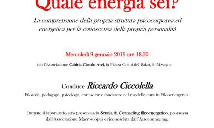 """""""Quale energia sei?"""", Mercoledì 9 gennaiopresso Cabiria Circolo Arci"""
