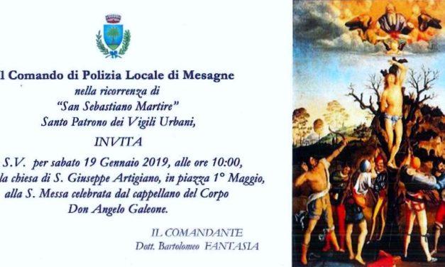 Festa di San Sebastiano, Sabato 19 gennaio una messa per il patrono dei Vigili Urbani