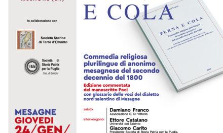 """Giovedì 24 gennaio presentazione del volume """"Perna e Cola"""""""