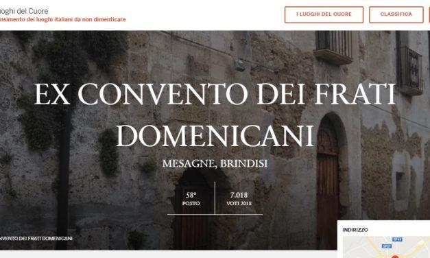 """L'ex Convento dei Domenicani primo tra i """"Luoghi del cuore"""" in Provincia di Brindisi"""