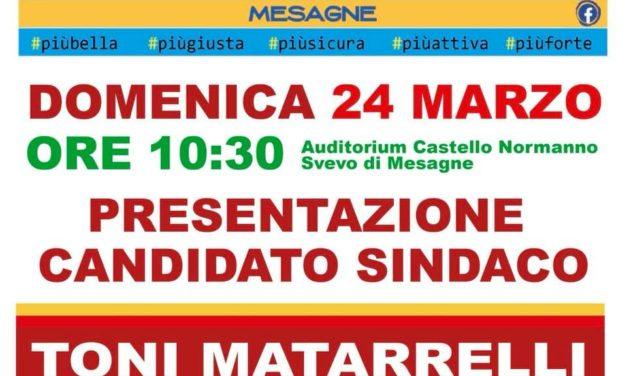 Domenica presentazione del candidato Sindaco Toni Matarrelli