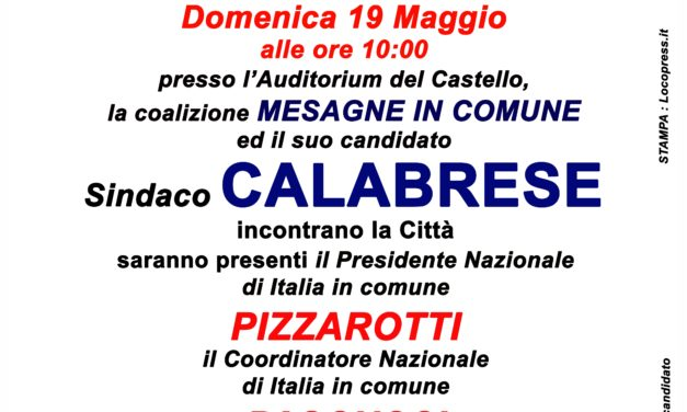 Italia in Comune, Federico Pizzarotti e Alessio Pascucci domenica a Mesagne