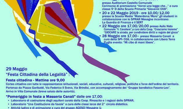 """""""La Legalità è come l'aria"""", il 29 Maggio VII Giornata Cittadina"""